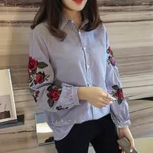 bbc838f282 Nvyou gou 2018 Floral blusa bordada camisa mujeres Slim blanco Tops manga  larga blusas Mujer Oficina camisas más tamaño