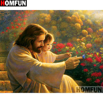 HOMFUN Full Square/Round Drill 5D DIY Diamond Painting Religious Jesus Embroidery Cross Stitch Home Decor Gift A14345