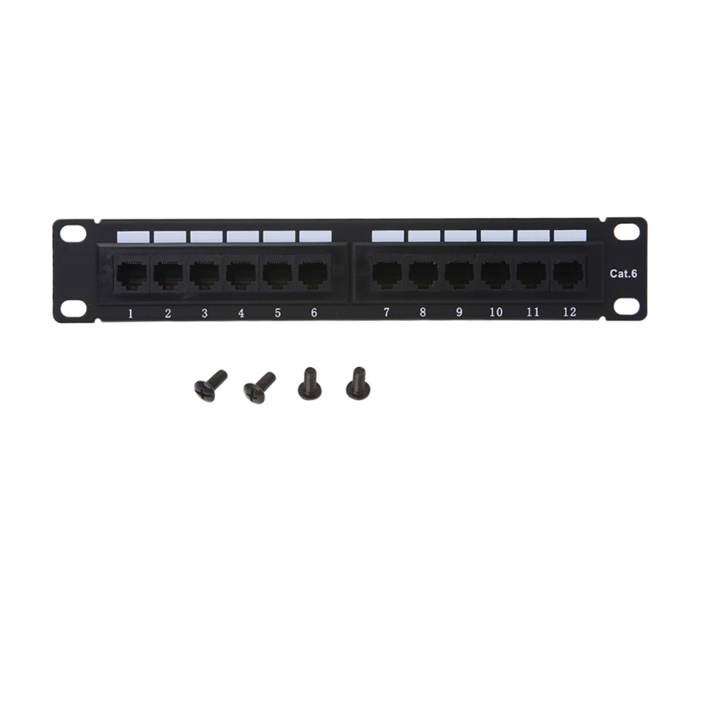 IMice GL-4013 12-Port Twisted Pair Patch Panel 10 Inch Cat6 Network Wall Mount Surface Patch Panel With 4 Screws