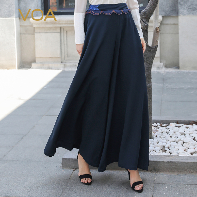 VOA Silk Pleated Palazzo Pants Women Elegant Loose Long Trousers High Waist Wide Leg Pants Ladies Casual Bottoms Navy Blue K889