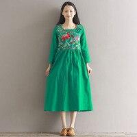 Mùa hè Phụ Nữ Quần Áo Thêu Màu Xanh Lá Cây Blue white Red Green Ăn Mặc Giản Dị Vintage Dress Vestido Womens Loose Dresses