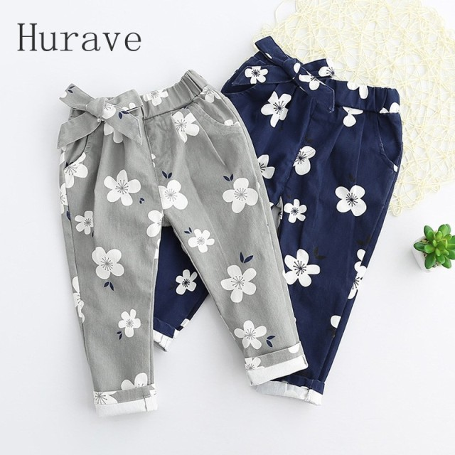 Hurave 2017 new fashion boy pants print toddler flower trousers girls kids clothing children clothes