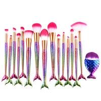 16ピース人魚メイクブラシ化粧品セットアイシャドウ輪郭財団ブラシ虹メイクアップフェイスブラシセットプロフェッショナル
