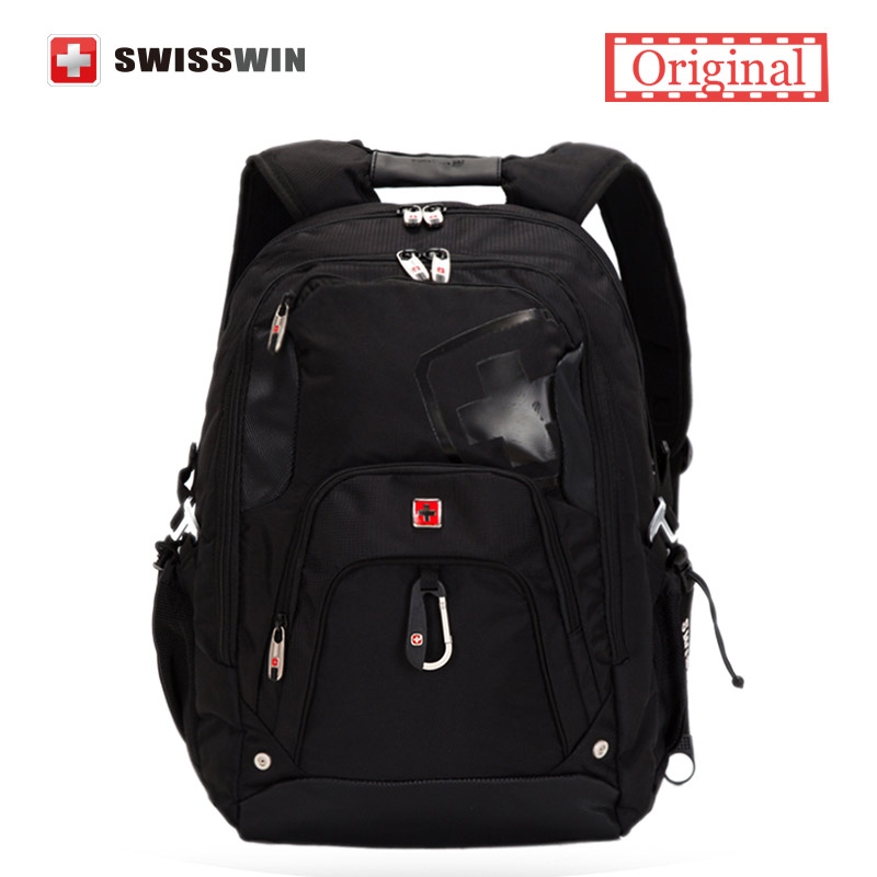 Swisswin Backpack Men Large Capacity Travel Backpack 15 inch Computer Bag Swiss Laptop Backpack Black Bagpack with Tablet Pocket бейбидолл красный с закрытой спиной 44
