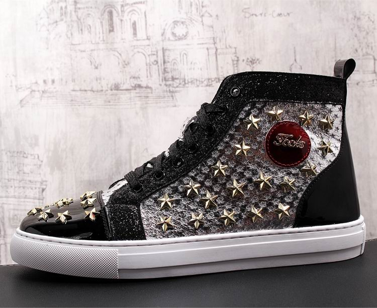 ERRFC Personalized Fashion Men High Top Casual Shoes Luxury Star Rivets Charm Mixed Colors Ankle Boots Man Trending Leisure Shoe 6