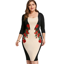 Bodycon Dress Color Block Embroidered Office Work Dress Women Clothing Elegant Evening Party Midi Dress Plus Size 5XL цена 2017