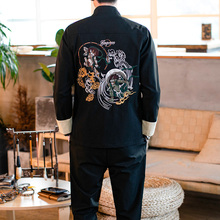 LOLDEAL Shirt Pants Spring and Autumn Chinese Style Tang Suit Embroidery Jacket Men Set