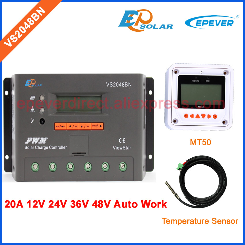36V 20A VS2048BN PWM EPEVER New series solar controller LCD display with temperature sensor and MT50 Meter charger regulator with white color mt50 remote meter epsolar pwm solar battery charger controller bluetooth function usb cable ls2024b 20a