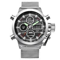 Splendid Military Sport Watches Mens 30Bar Waterproof Wrist Watch Dual Time LED Quartz Clock Leather Watch
