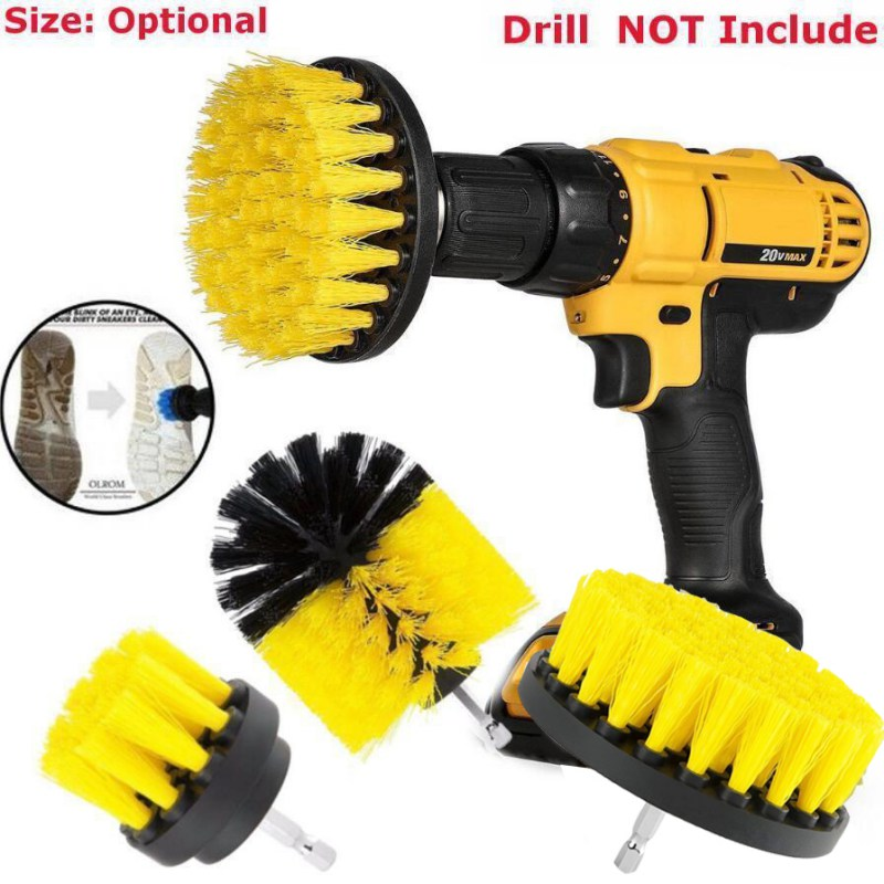 3PCS/Set Handhold Scourer Drill Brush Clean Bathroom Brushes Scrubber Surface Tub Shower Tile Grout Household Cleaning Tools Kit