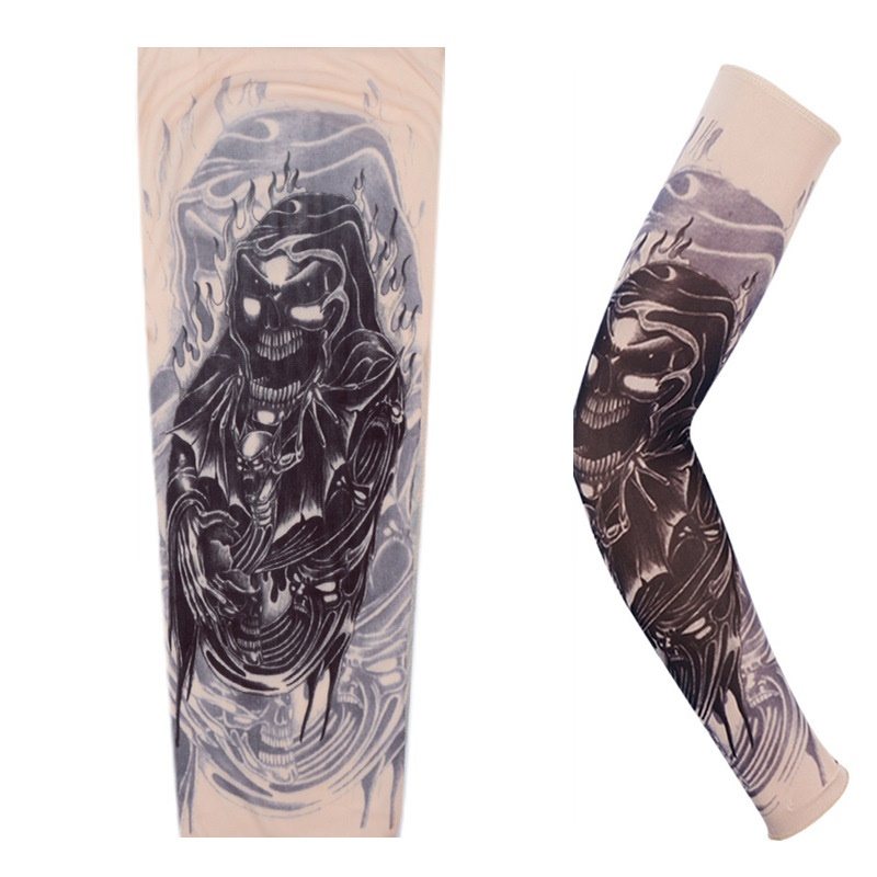 Cycling Sports Tattoo Arm Warmers Sleeves UV Cool Arm Sleeves Cycling Running Nylon Sport Elastic Oversleeve Tattoo Sleeve 4