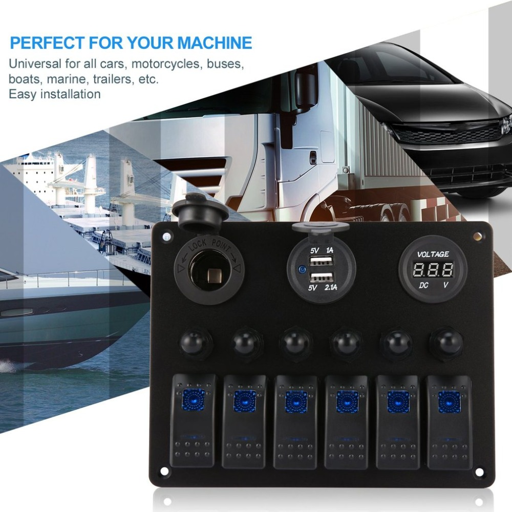 6 gangs Voiture Bateau Marin LED Panneau D'interrupteur À Bascule Étanche Interrupteur Contrôle avec Voltmètre Numérique Double Chargeur USB