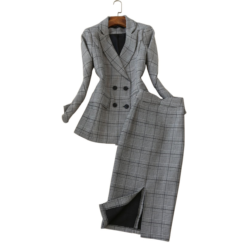 High quality elegant women's 2019 spring new fashion small suit  fashion women's long-sleeved plaid suit + skirt two-piece Slim
