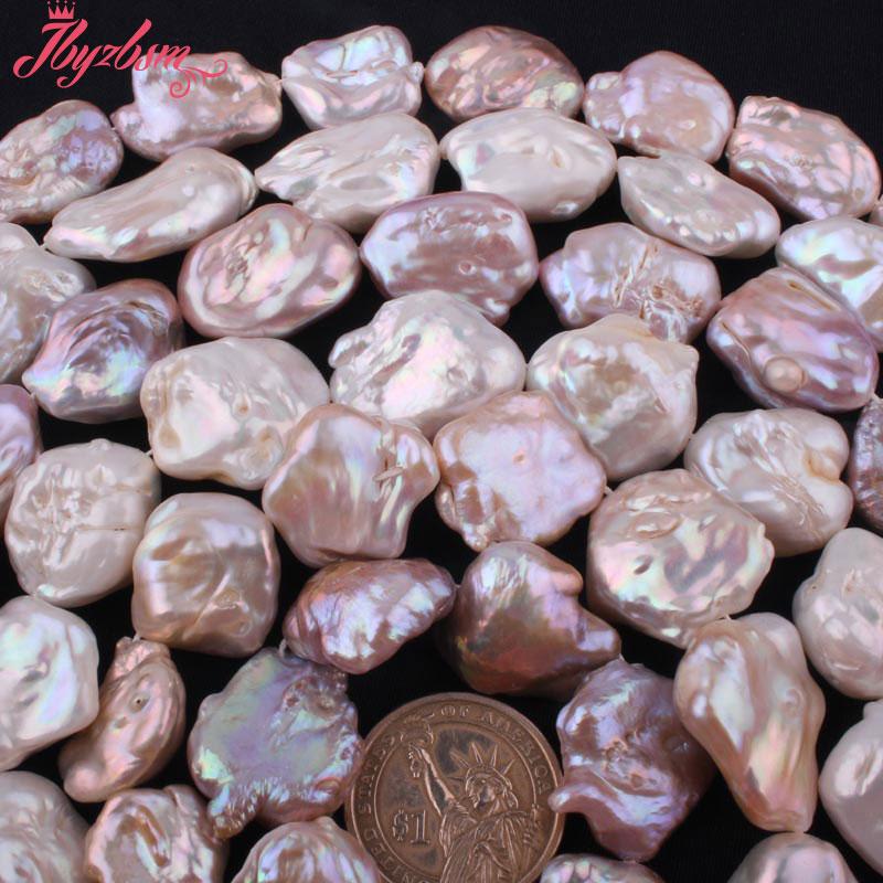13x18-20x30mm perles de pierre d'eau douce baroques naturelles brin 14.5