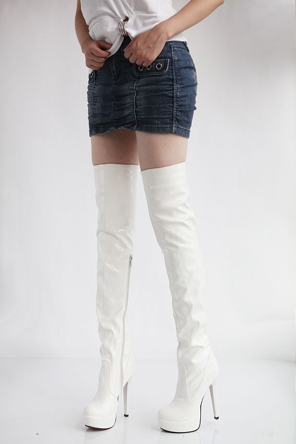 boots high White thigh leather