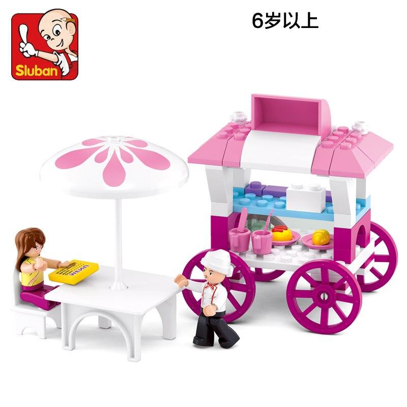 Sluban Model font b Toy b font Compatible with Lego B0522 78pcs Girl Bread Diner Model