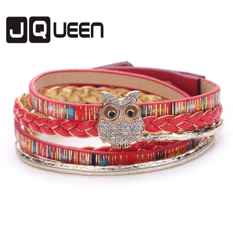 2017 New Arrival Cortical Multi-layer owl Animal Accessories Trendy Jewelry Concise Alloy PU Charm bracelet.