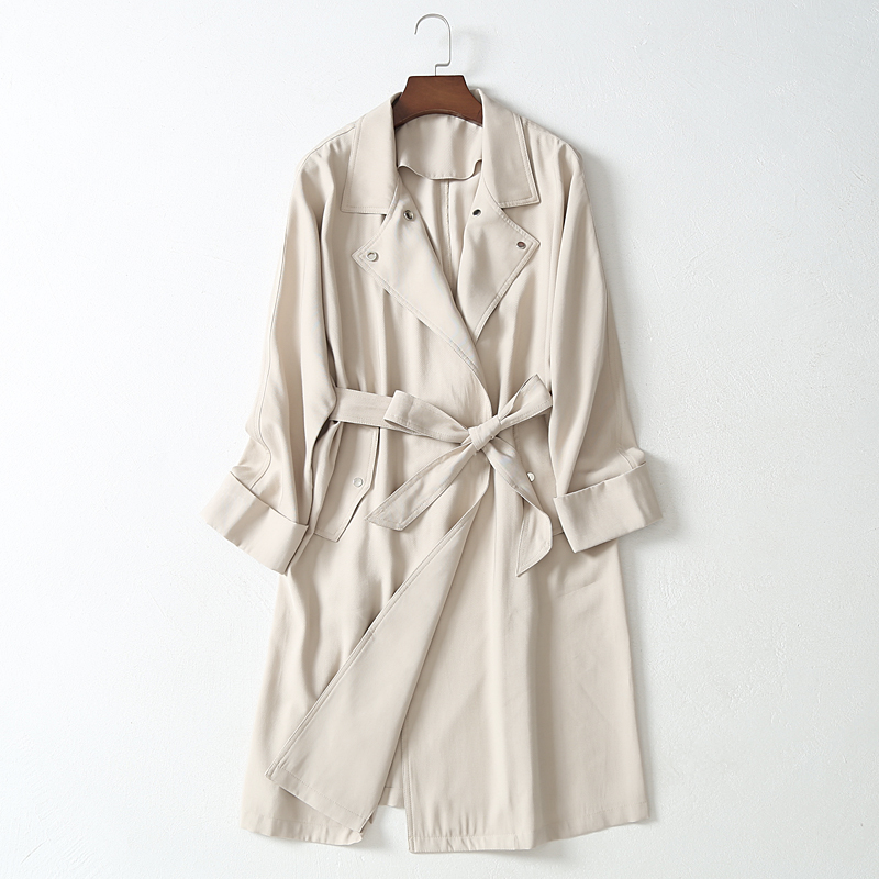 Casual Office Lady Designer Women Spring Autumn   Trench   Coat 2019 Loose European Outerwear clothes with belt