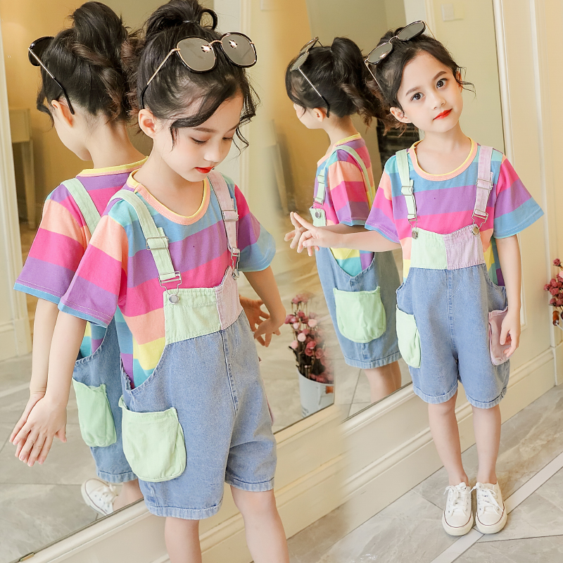 10 Options Girls Summer Overalls Suit Children 39 s Rainbow Striped Short Sleeve T shirt Denim Braces 2 Pcs Kid Cute Clothes X405 in Clothing Sets from Mother amp Kids