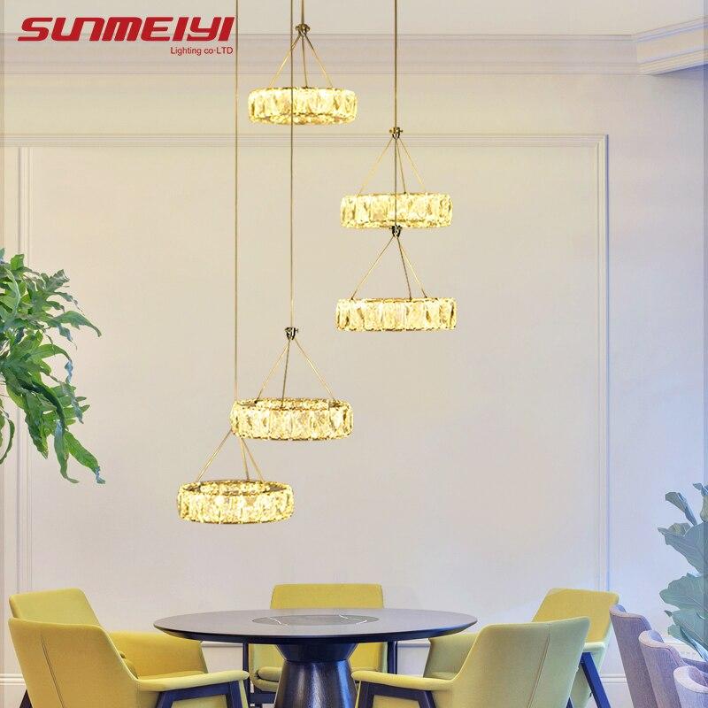 Современные светодиодный хрустальная люстра свет лампы для дома декоративные Cristal Lustre люстры освещения кулон висит потолочный светильник