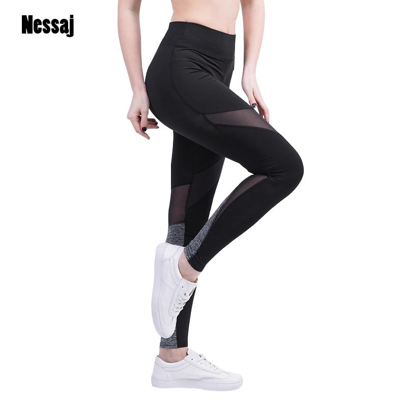 Nessaj Sexy Hosen Frauen Leggings Fitness Frauen Hosen Designer Korean Fashion Color Block Mesh Insert Leggings