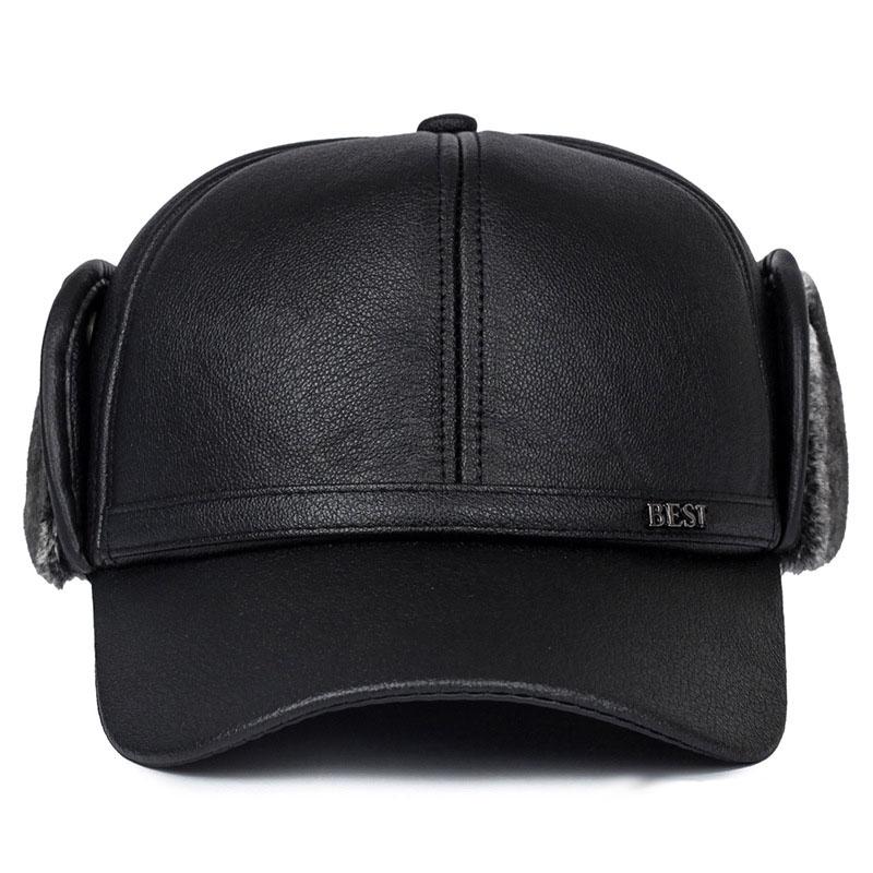 a73df1c19fe Fibonacci High quality men s winter hat warm ear protection plus velvet  thick middle aged elderly leather baseball cap. 11 2 3 ...