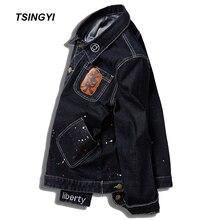 Tsingyi Big Size 8XL 145kg Embroidery Denim Jacket Men Whiten Graffiti Long Sleeve Black Bomber chaquetas hombre Coats