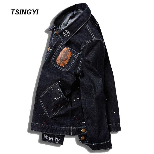 b6c51d245fe Tsingyi Big Size 8XL 145kg Embroidery Denim Jacket Men Whiten Graffiti Long  Sleeve Black Denim Bomber chaquetas hombre Men Coats