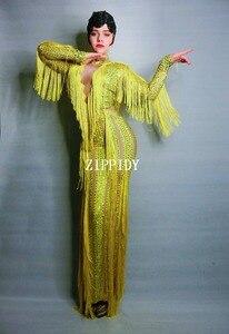 Image 4 - イエロー縞ラインストーンドレスレディーイブニングパーティーセクシーなロングドレスウエディング誕生日祝うストレッチタッセルドレス