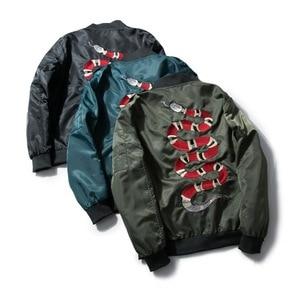 Image 4 - Mannan Herfst 2018 Jas Snake Borduren Jas Dunne Mannen Hip Hop High Street Streetwear Geborduurde Koppels Baseball Jas