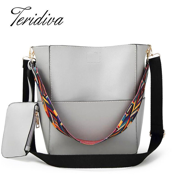 Teridiva Composite Bags Luxury Handbags Women Bags Designer Brand Famous Shoulder Bag Female Vintage Satchel Bag Pu Leather Gray
