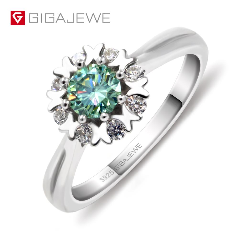 GIGAJEWE Moissanite Ring 0 4ct 5mm Round Cut Green Color 925 Silver Gold Multi layer Plated