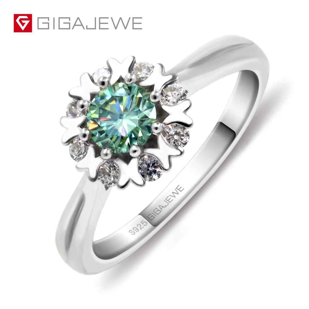 GIGAJEWE Moissanite Ring 0.4ct 5mm Round Cut Green Color 925 Silver Gold Multi-layer Plated Fashion Love Token Girlfriend Gift