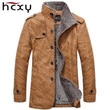 HCXY Marke 2016 Männer Winterjacke herren Pu-leder Motorrad Warme Jacken Plus samt Windjacke Männliche Beiläufige Lange Mantel 4XL