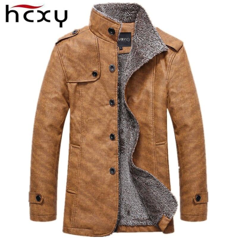 HCXY Marca 2016 Uomini Giacca Invernale PU Pelle Moto Giacche Calde degli uomini Più velluto Giacca A Vento Maschile Cappotto Casuale Lungo 4XL