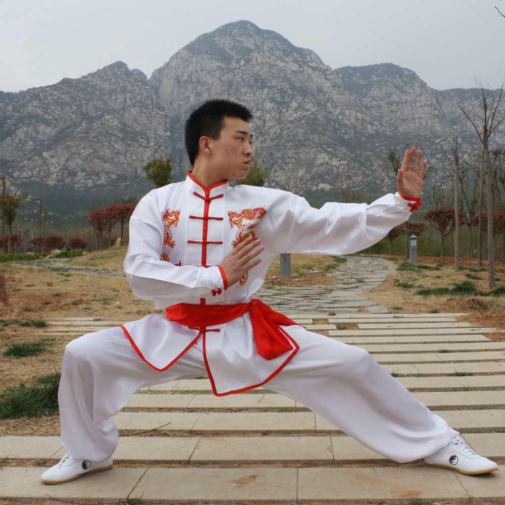 USHINE HX09 White Double Dragon Traditional Chinese Tai Chi Clothing Long-sleeve KungFu Uniforms Wushu TaiChi Martial Arts Suit