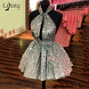 Cheap Sparkling Mini Prom Ball Gowns Dress Sequin Womens Puffy Short Dresses Silver Gold Custom Color