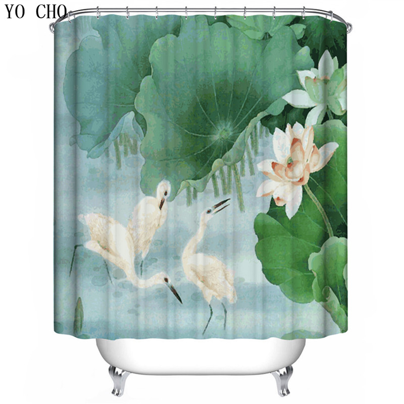 YO CHO Elegant Swan Pattern Shower Curtains Polyester Eco Friendly Waterproof Mould Proof Acceptable For The Bathroom