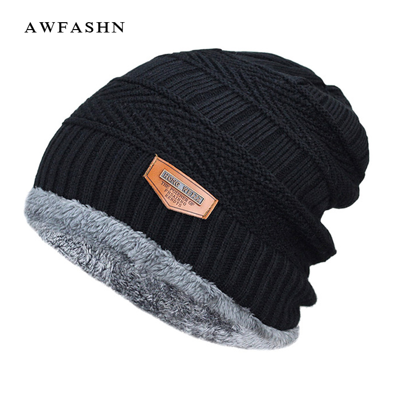 2018 Men Beanies Knit Hat Winter Cap For Man knitted Cap Boys Thicken Hedging Cap Balaclava Skullies Fashion Warm knit Beanie(China)