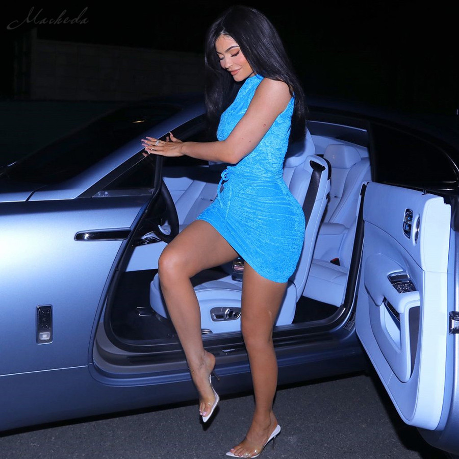 Macheda Женское новое модное бархатное голубое облегающее короткое платье мини с одним рукавом с поясом с круглым воротником