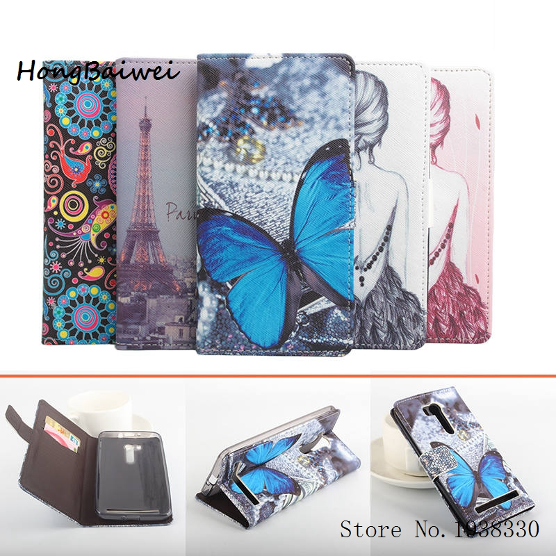 Hongbaiwei 5 Painted Styles for Asus ZenFone GO Phone Cases Leather Wallet Bag Stand Cover for Asus ZenFone GO TV ZB551KL 5.5 in