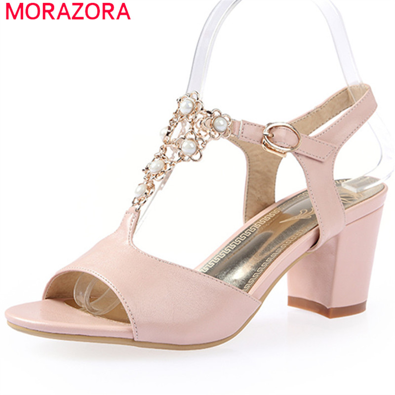 MORAZORA new fashion 2018 spring summer ladies sandals with buckle sweet pink white color high heels square heel women shoes new 2017 spring summer women shoes pointed toe high quality brand fashion womens flats ladies plus size 41 sweet flock t179
