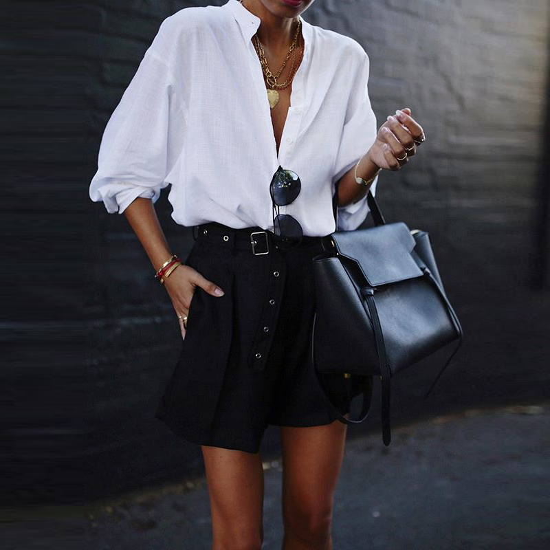 VONDA New Women Blouses 19 Summer Office Lady White Shirts Lantern Sleeve Buttons Deep V Neck White Blouse Sexy Plus Size Tops 9