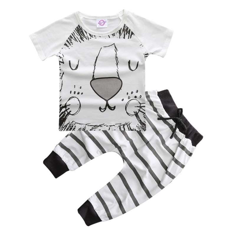 2PCs Baby Clothes Summer Baby Girl Clothing Set Cotton Baby Boy Clothes Roupas Bebe Printed Pattern T-shirt Kid Clothes