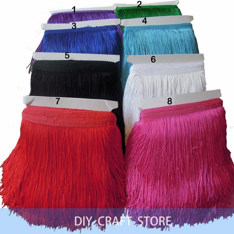 10Yards 20CM Szélesség Poliészter Tassel Fringe Trimmelés DIY Latin ruha Afrikai csipke fonal szalag varrásfüggöny számára 5-074