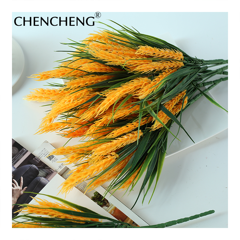 3 Pieces/lots Beautiful Flower flowers Yellow Wheat Grain flower Artificial Restaurant Table Placed Accessories Plants CHENCHENG