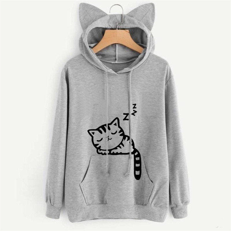 Hoodie 2018 Harajuku Sweatshirt Woman Girls Crop Top Cartoon Cute Cat Printing Short Sweatshirt Hooded