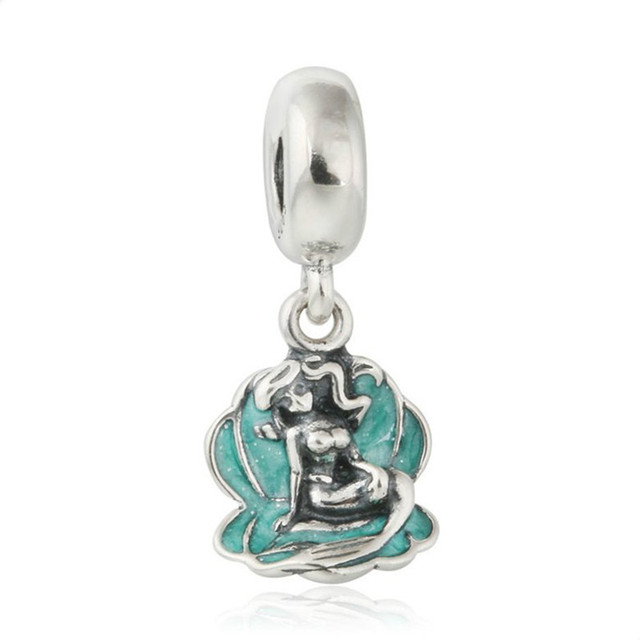 acabb5f5bcd Green Seashell Ariel Mermaid Pendant Charm Beads For Jewelry Making 100% 925  Sterling-Silver-Jewelry Fits Pandora Bracelet DIY