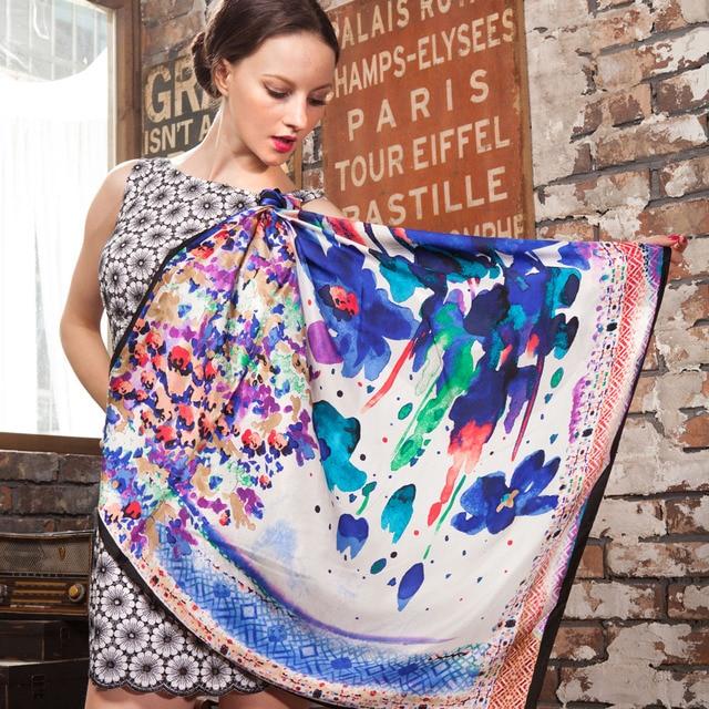 Весна осень женщины 100% чистый шелк шарф девочки большие квадрат цветочный принт чистый шелк mulberry платки шарф 90 * 90 см