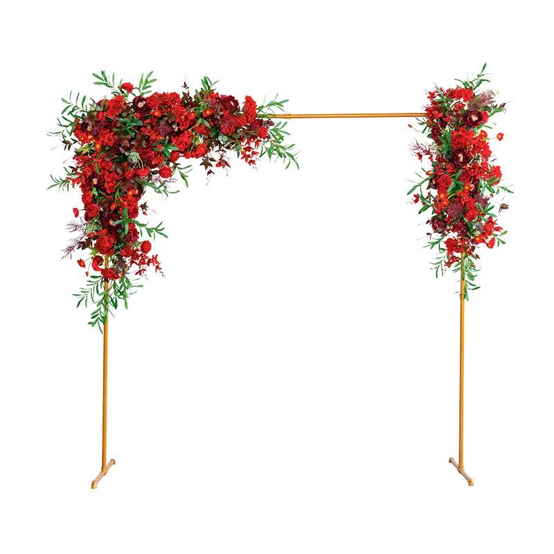 Металл Кованое железо стенд Арка + искусственная композиция из шелковых цветов белая ткань набор Декор вечерние свадебные фон цветочный ряд 1 комплект - 5